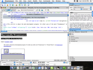 Dreamweaver MX 2004 running on Mac OS X v10.4 Tiger
