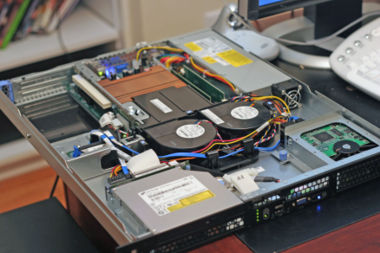 The inside/front of a Dell PowerEdge web server