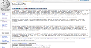 Editing interface of MediaWiki 1.7 as rendered in Firefox, showing the edit toolbar and some examples of wiki syntax.