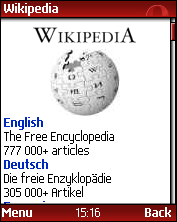 Opera Mini displaying the Wikipedia portal