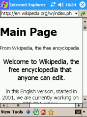Pocket Internet Explorer displaying the Wikipedia main page on a PDA